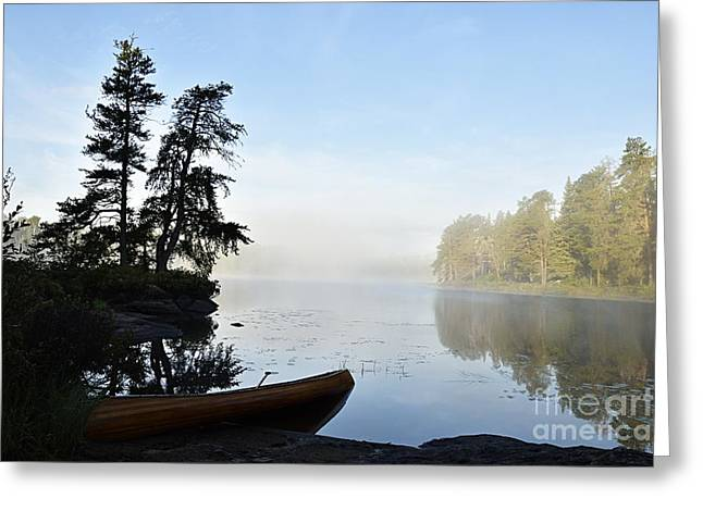 Morning Mist On The Kawishiwi River Greeting Card by Larry Ricker