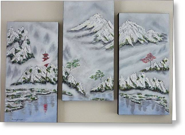 Morning Mist Triptych Greeting Card