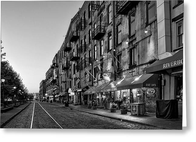 Morning On River Street In Black And White Greeting Card