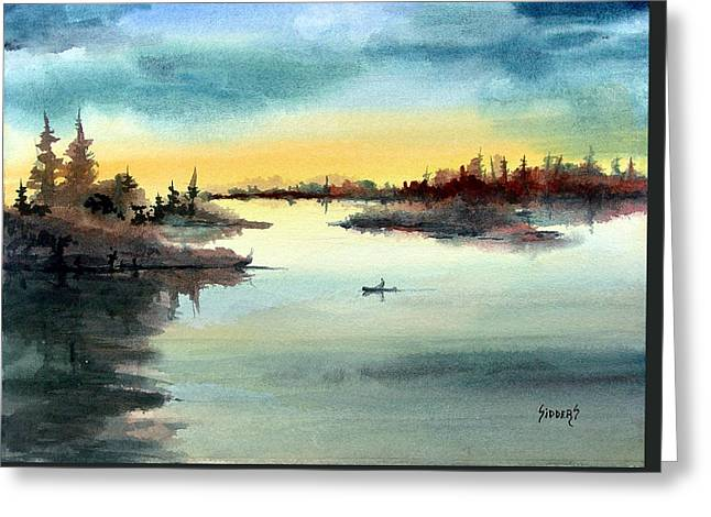 Greeting Card featuring the painting Morning On The Lake by Sam Sidders