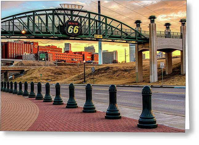 Rt 66 Sunrise - Tulsa Oklahoma's Route 66 Sign Greeting Card