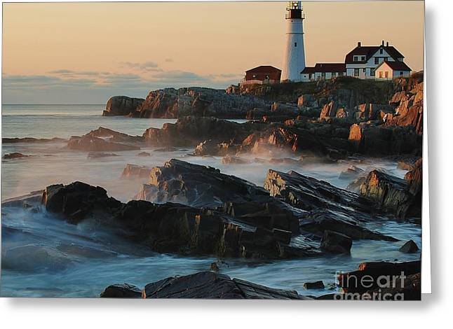Greeting Card featuring the photograph Morning On The Rocks by Paul Noble
