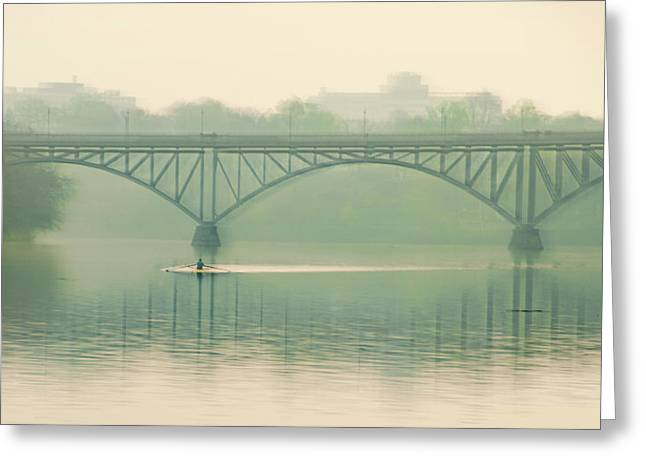 Morning On The Schuylkill River - Strawberry Mansion Bridge Greeting Card by Bill Cannon