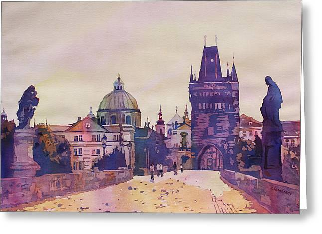 Morning On The St. Charles Bridge Greeting Card by Jenny Armitage