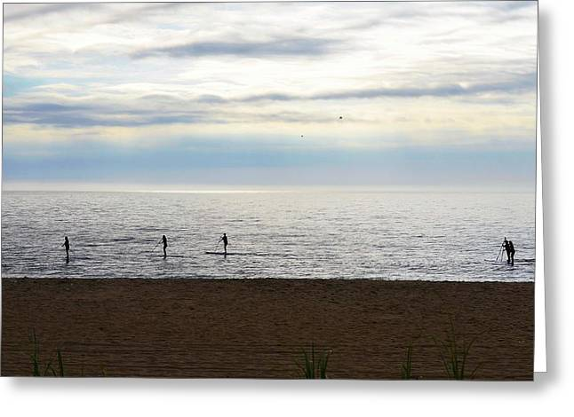 Morning Paddleboarders Greeting Card