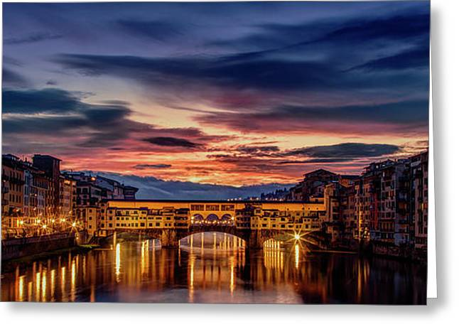 Morning Panorama In Florence Greeting Card by Andrew Soundarajan