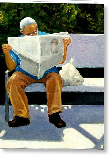 Park Benches Paintings Greeting Cards - Morning Paper Greeting Card by Joyce Geleynse