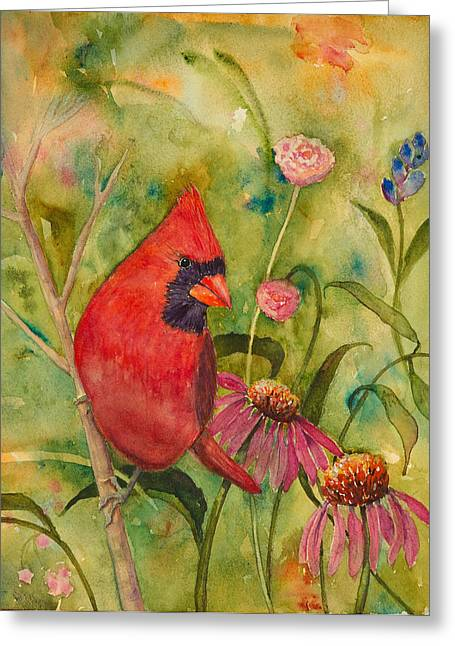 Morning Perch In Red Greeting Card by Renee Chastant