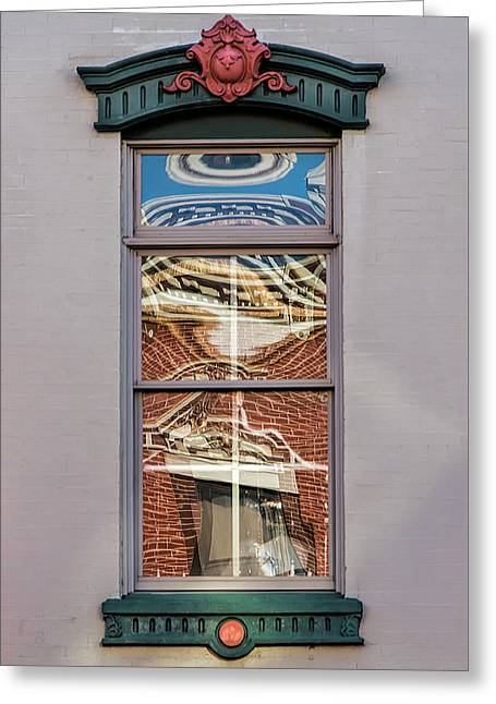Greeting Card featuring the photograph Morning Reflection In Window by Gary Slawsky