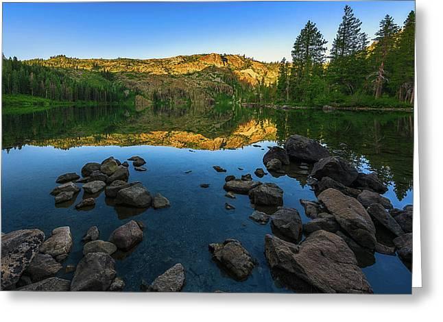 Morning Reflection On Castle Lake Greeting Card