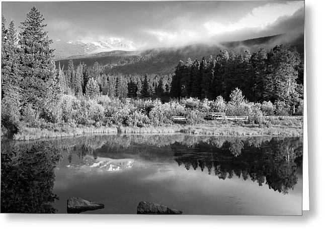 Morning Reflections - Black And White - Colorado Landscape Greeting Card