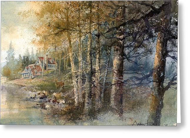 Greeting Card featuring the painting Morning River by Andrew King