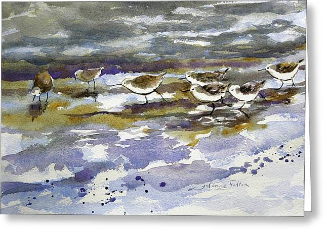 Morning Sandpipers At The Beach Greeting Card