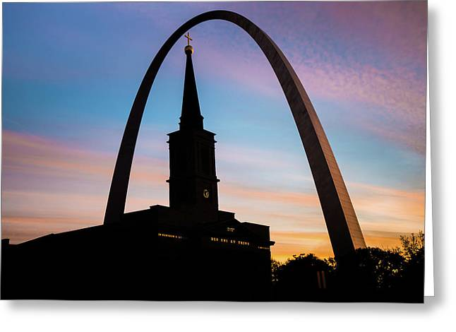 Morning Silhouettes - St. Louis Gateway Arch And The Old Cathedral At Sunrise Greeting Card by Gregory Ballos