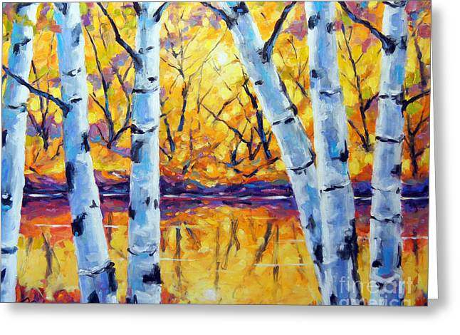 Morning Sparkle Birches By Prankearts Greeting Card by Richard T Pranke