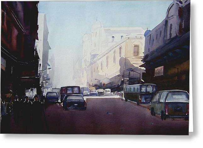 Morning Street  Greeting Card by Samiran Sarkar