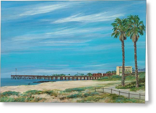 Ventura Pier Greeting Cards - Morning Stroll at the Ventura Pier Greeting Card by Tina Obrien