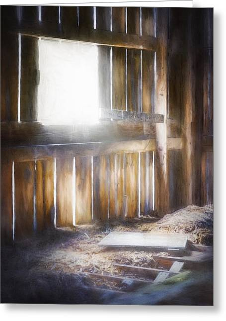 Morning Sun In The Barn Greeting Card by Scott Norris