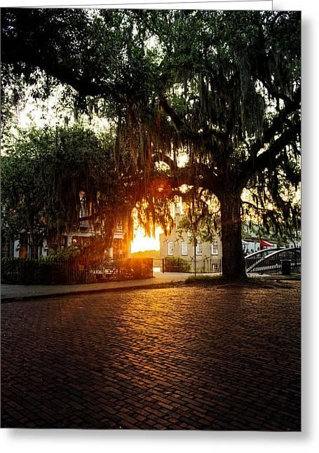 Morning Sun On The Bricks Of Savannah Greeting Card by Chrystal Mimbs