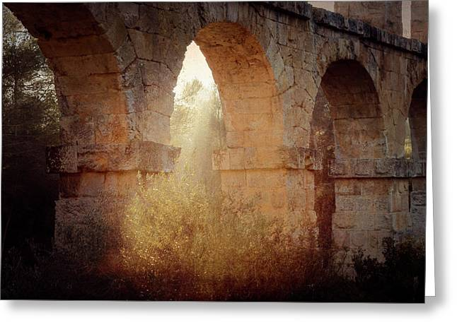 Morning Sunlight At Roman Aqueducts Tarragona Spain Greeting Card