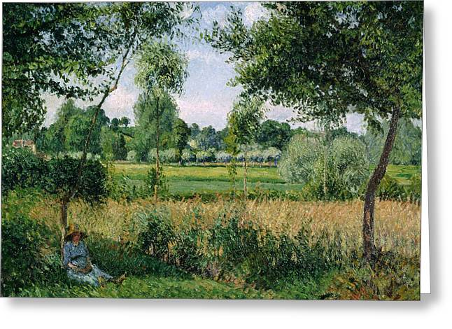 Morning Sunlight Effect, Eragny Greeting Card by Camille Pissarro