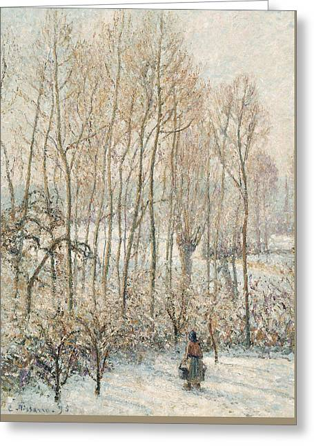 Morning Sunlight On The Snow Eragny Sur Epte Greeting Card by Camille Pissarro