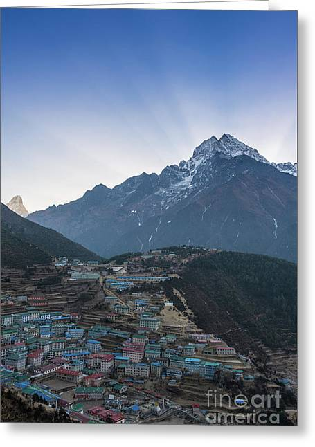 Greeting Card featuring the photograph Morning Sunrays Namche by Mike Reid