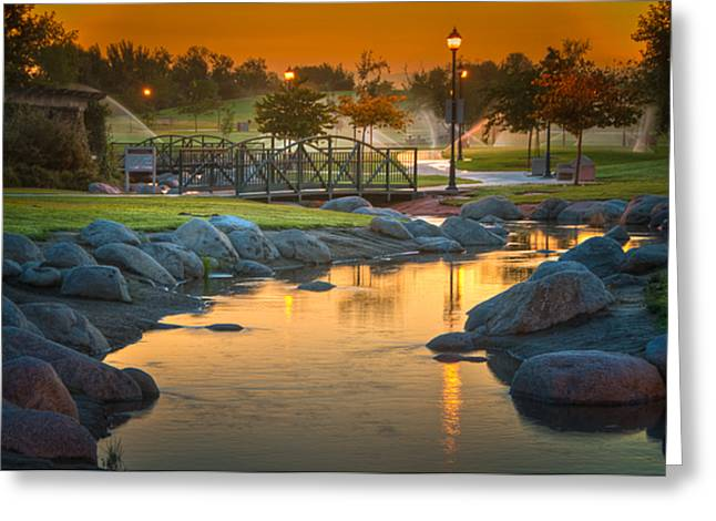 Morning Sunrise In The Park Greeting Card