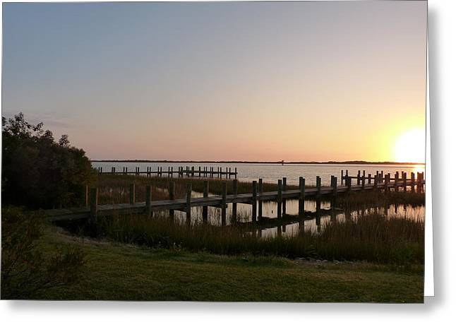 Morning Sunrise Over Assateaque Island Greeting Card by Donald C Morgan
