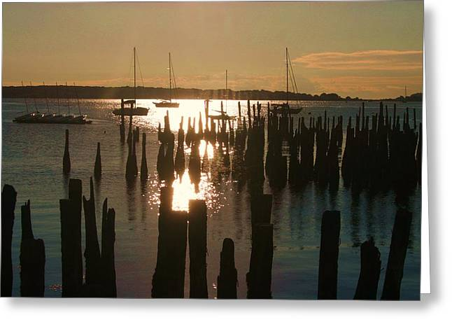 Morning Sunrise Over Bay. Greeting Card by Dennis Curry