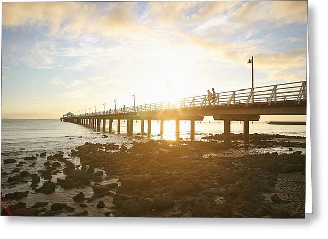 Morning Sunshine At The Pier  Greeting Card