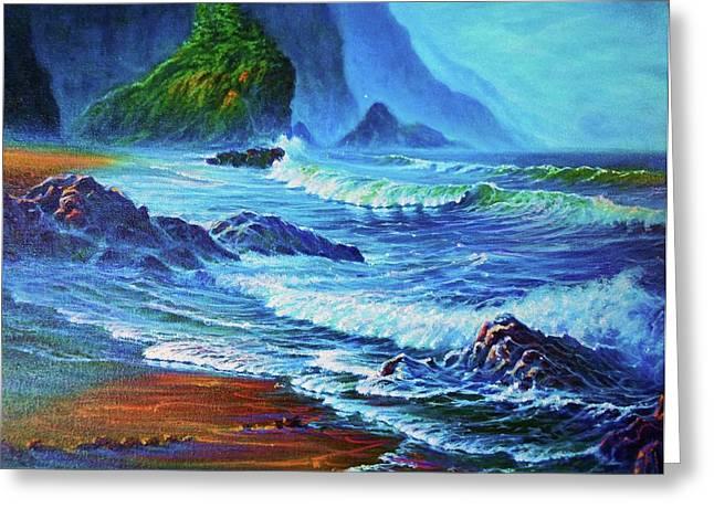 Morning Surf Oregon Greeting Card by Joseph   Ruff