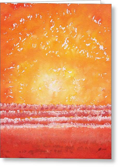 Morning Surf Original Painting Greeting Card by Sol Luckman