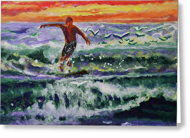 Morning Surf With Birds Greeting Card