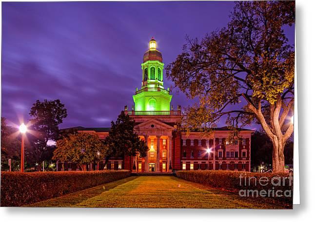 Morning Twilight Shot Of Pat Neff Hall At Baylor University - Waco Central Texas Greeting Card