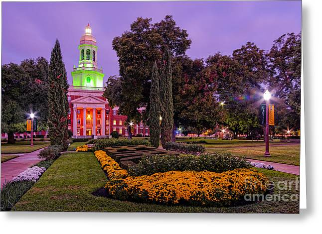 Morning Twilight Shot Of Pat Neff Hall From Founders Mall At Baylor University - Waco Central Texas Greeting Card