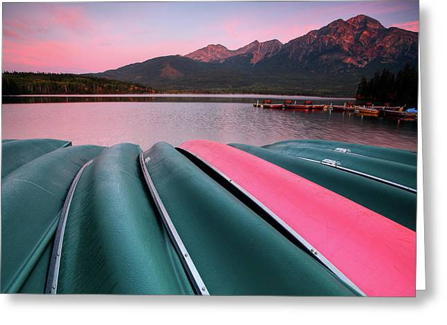 Morning View Of Pyramid Lake In Jasper National Park Greeting Card by Mark Duffy