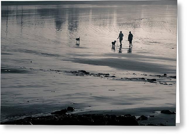 Morning Walk, Gooch's Beach, Kennebunk, Maine Greeting Card