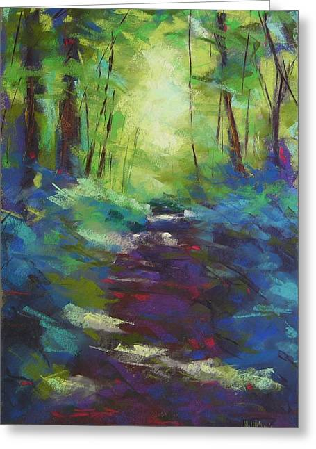 Hiking Pastels Greeting Cards - Morning Walk I Greeting Card by Mary McInnis