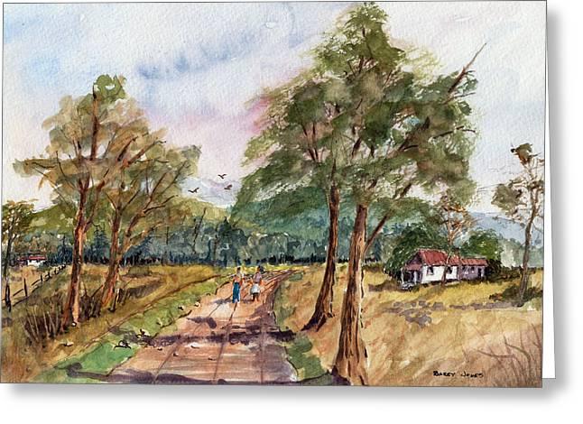 Morning Walk - Watercolor Greeting Card