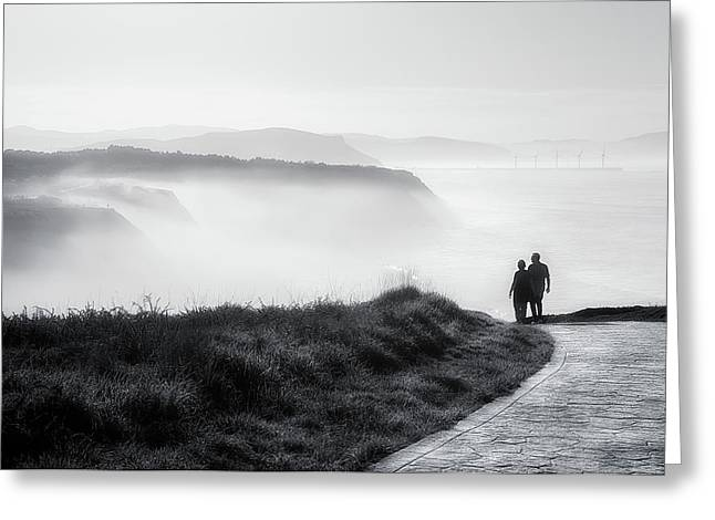 Morning Walk With Sea Mist Greeting Card