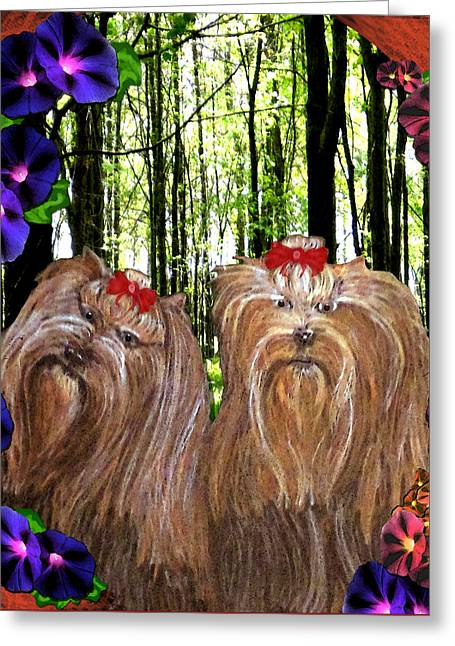 Greeting Card featuring the digital art Morning Yorkies by Michelle Audas