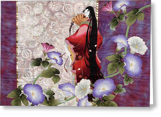 Dress Tapestries - Textiles Greeting Cards - Mornings Glory Greeting Card by Judy Sauer