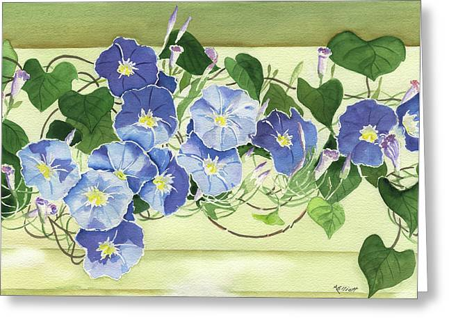 Morning Glories Greeting Cards - Mornings Glory Greeting Card by Marsha Elliott
