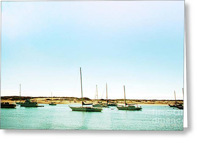 Moro Bay Inlet With Sailboats Mooring In Summer Greeting Card