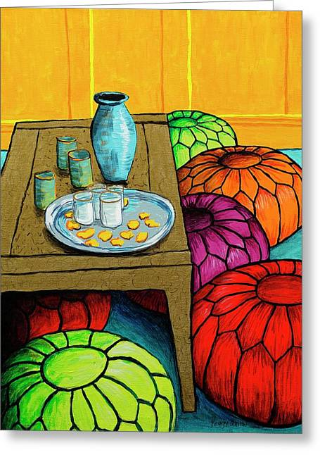 Gold Lime Green Greeting Cards - Moroccan Interior Greeting Card by Peggy Quinn