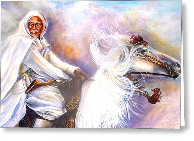 Moroccan Man Riding Arabian Stallion  Greeting Card
