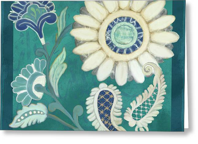 Greeting Card featuring the painting Moroccan Paisley Peacock Blue 2 by Audrey Jeanne Roberts