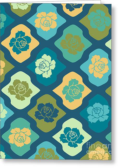 Moroccan Pattern With Rose Greeting Card