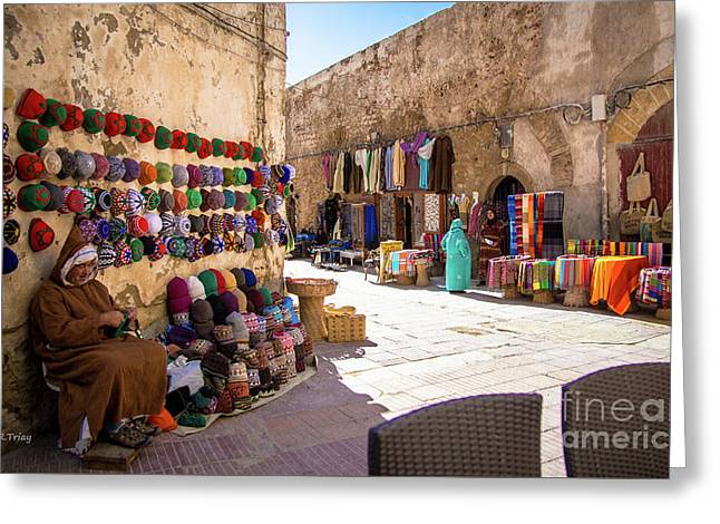 Moroccan Street Vendor Greeting Card by Rene Triay Photography